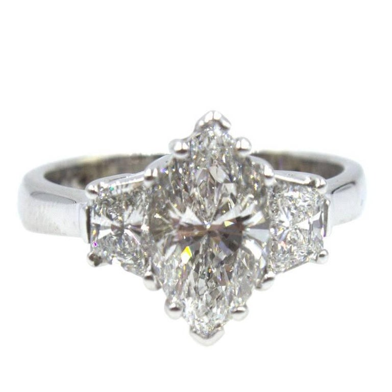 2.09 Carat Marquise Diamond Engagement Ring GIA Certified F SI2