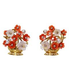 Coral Quartz Cultured Pearl Diamond Flower Basket Earclips