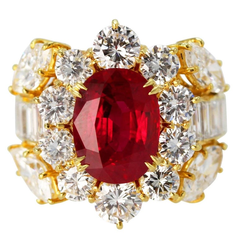 GIA Certified 4.24 Carat Ruby Diamond Ring For Sale