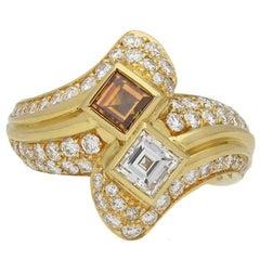 Boucheron Two-Stone Diamond Crossover Ring, circa 1980