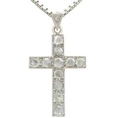 1920s 1.20 Carat Diamond and 10k White Gold Cross Pendant