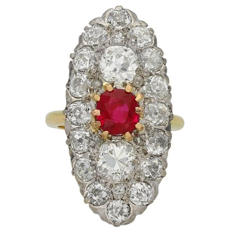 Marquise Shape Ruby and Diamond Cluster Ring, circa 1910