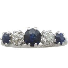 1930s Antique Sapphire & Diamond Platinum Five Stone Ring