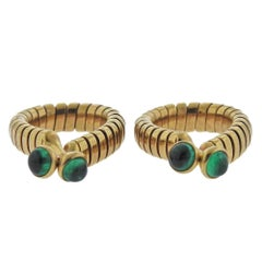 Bulgari Tubogas Emerald Gold Cufflinks