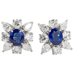 4.63 Carats Royal Blue Sapphire Diamond Cufflinks