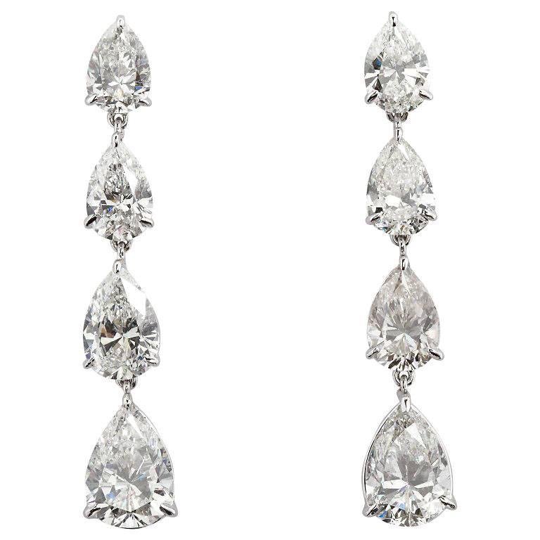 12 Carat Pear Shape Diamond Dangle Earrings For