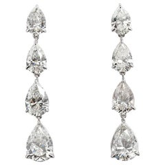 12 Carat Pear Shape Diamond Dangle Earrings