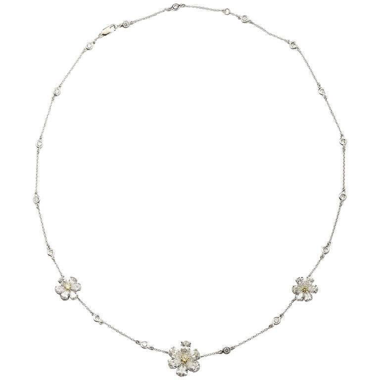 Three Flower Pendant Diamond Yard Necklace For Sale