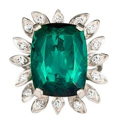 16 Carat Green Tourmaline Diamond Cocktail Ring