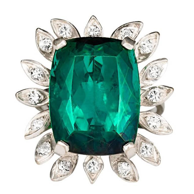 16 Carat Green Tourmaline Diamond Cocktail Ring For Sale