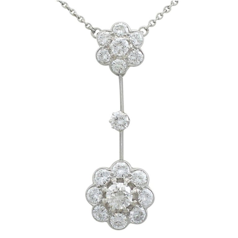 1930s Antique 2.75 Carat Diamond and Platinum Necklace