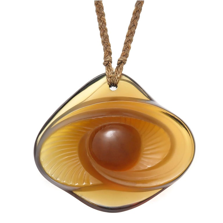 Lalique Cecelia Fume Crystal Eye Pendant Necklace