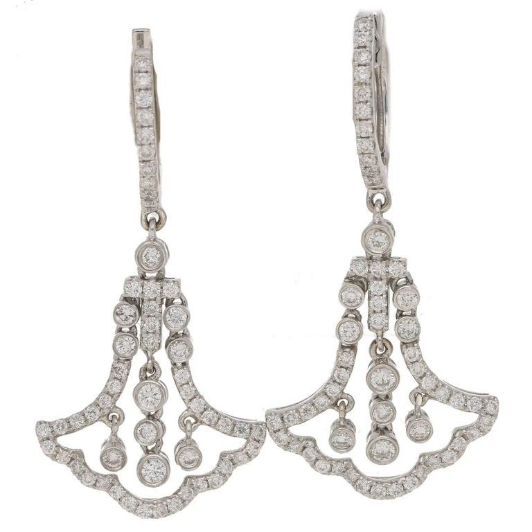Deco Style Gold Diamond Drop Earrings