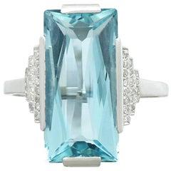 1930s Antique 6.47 Carat Aquamarine and Diamond White Gold Cocktail Ring