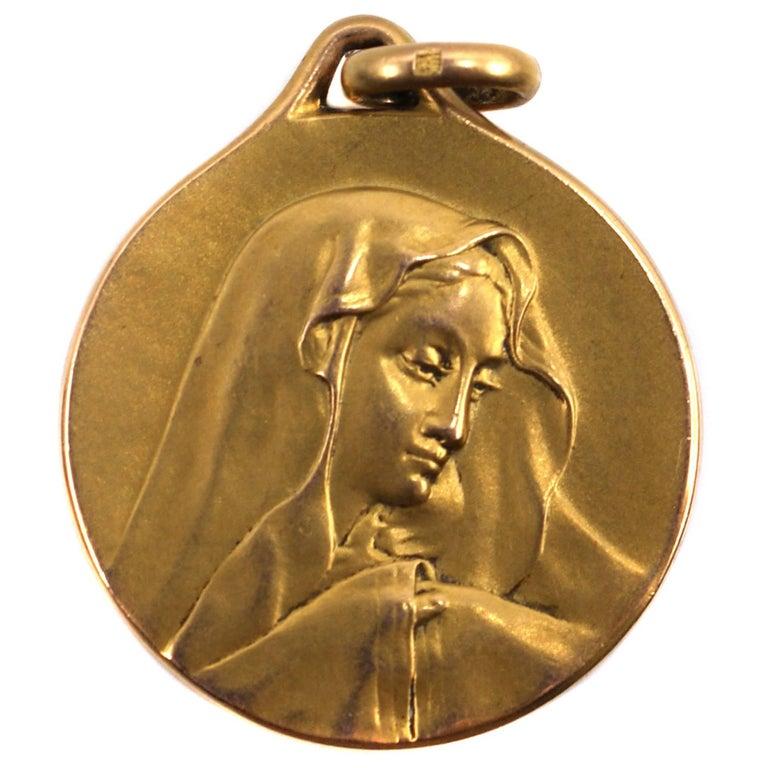 Art Nouveau Madonna Virgin Mary Medallion Pendant 1
