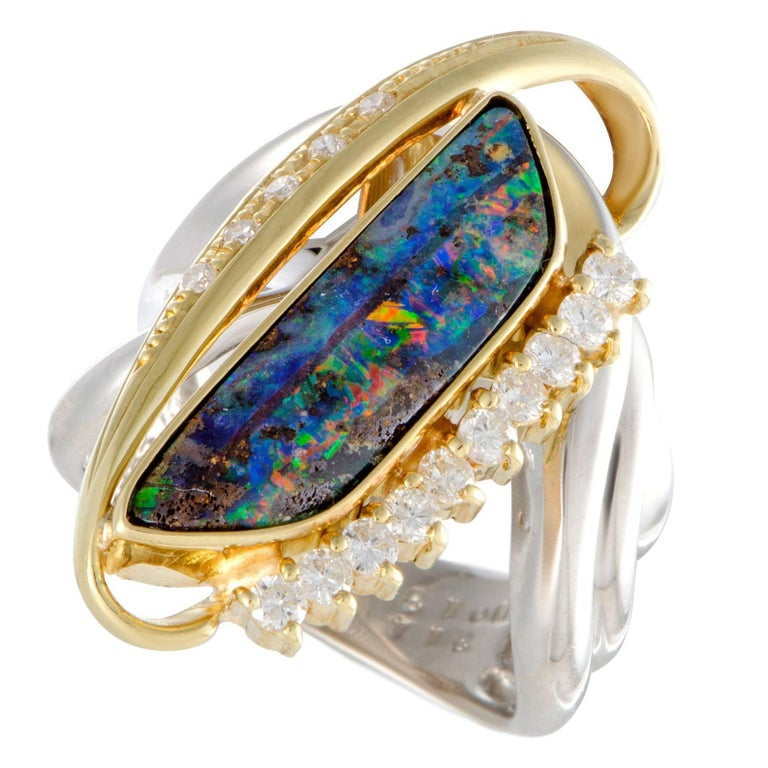 Opal Diamond Platinum and Gold Cocktail Ring