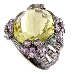Diamond and Mixed Gemstone Gold Ring