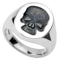 Deakin & Francis Silver Skull Signet Ring