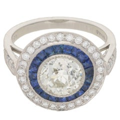 Art Deco Style Diamond Sapphire Target Engagement Ring