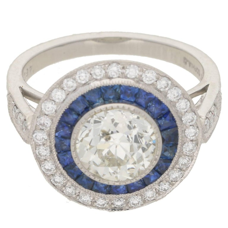 Art Deco Style Diamond Sapphire Target Engagement Ring For Sale