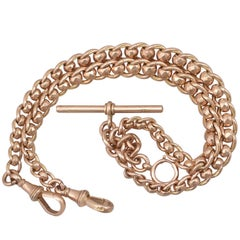 1900s Antique Rose Gold Double Albert Watch Chain