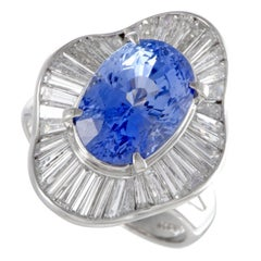 Diamond and Oval Sapphire Platinum Ring