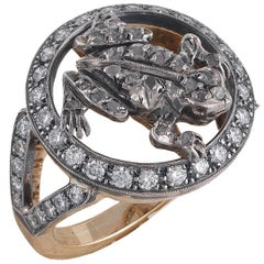 Gold Silver and Diamond Frog Ring