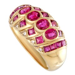 Diamond and Ruby Gold Band Ring