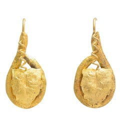 "Victorian Gold ""Leaf and Vine"" Earrings"