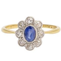 Edwardian Sapphire Diamond Flower Cluster Ring