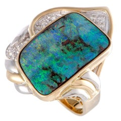 Diamond and Green Opal Platinum and Gold Ring