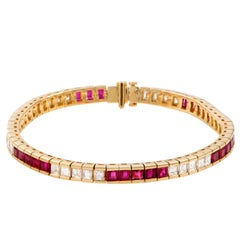 Diamond and Ruby Gold Tennis Bracelet