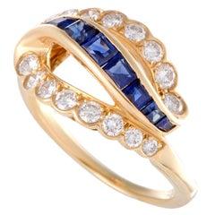 Oscar Heyman Diamond and Sapphire Gold Ring