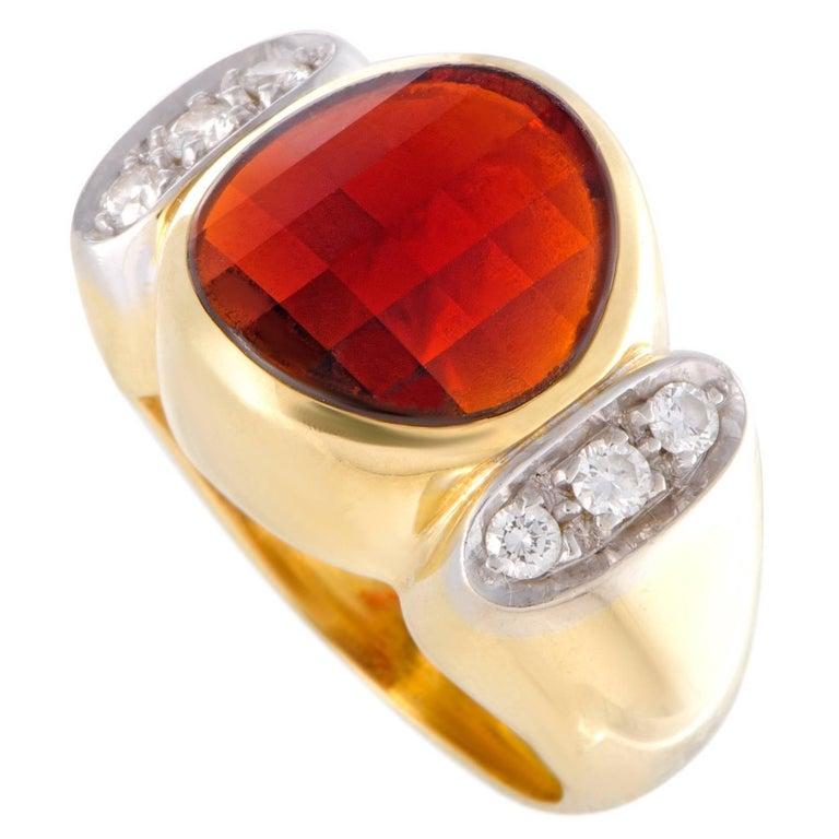 Pomellato Diamond and Round Garnet Gold Ring