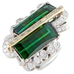 Diamond and Green Tourmaline Platinum and Gold Ring