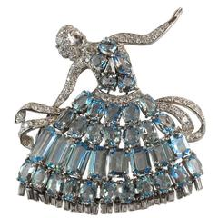 Aquamarine Diamond Platinum Ballerina Dancer Brooch