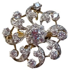 Diamond, Gold and Platinum Flower Pin