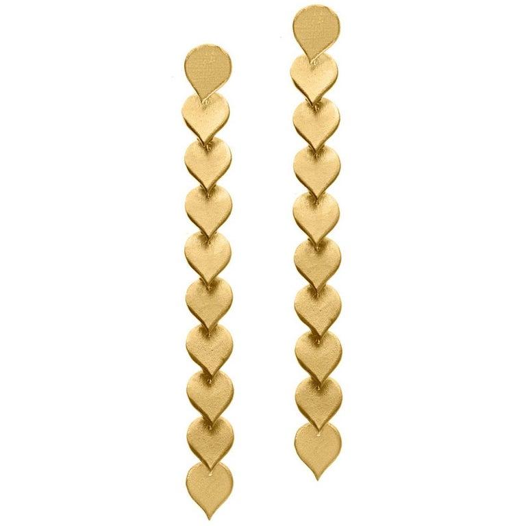 Timeless Gold Plated Brass Teardrop Shaped Motif Greek Drop Earrings