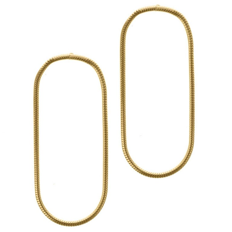 Minimal Snake Chain Gold Plated Silver Hoop Shape Greek Earrings