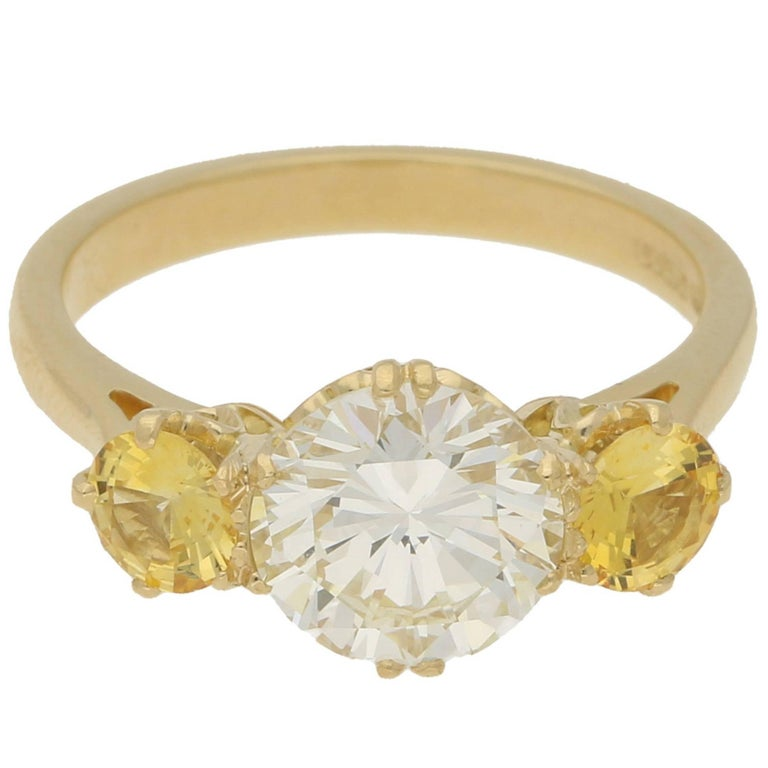 1.85 Carat Diamond Yellow Sapphire Gold Engagement Ring
