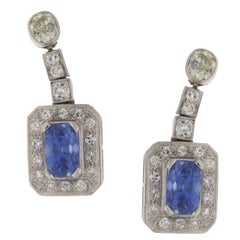 Sapphire Diamond Gold Drop Earrings