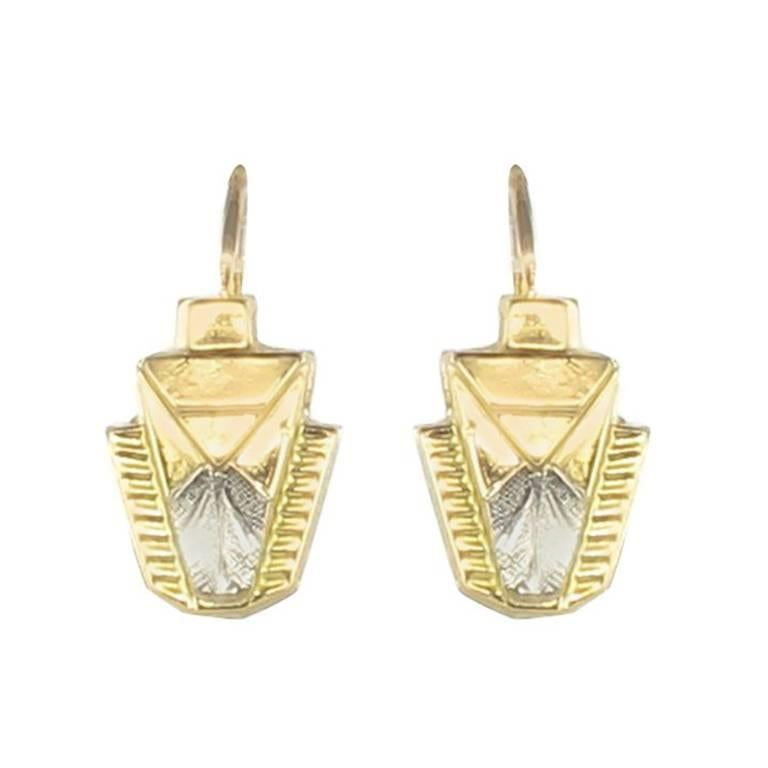 French 1930s Art Deco 18 Karats Yellow and White Gold Drop Earrings