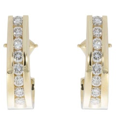 14 Karat Yellow Gold 0.50 Carat Channel Set Round Diamond Huggie Earrings