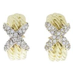 David Yurman 0.72 Carat 14 Karat Yellow Gold Triple Cable X Diamond Earrings