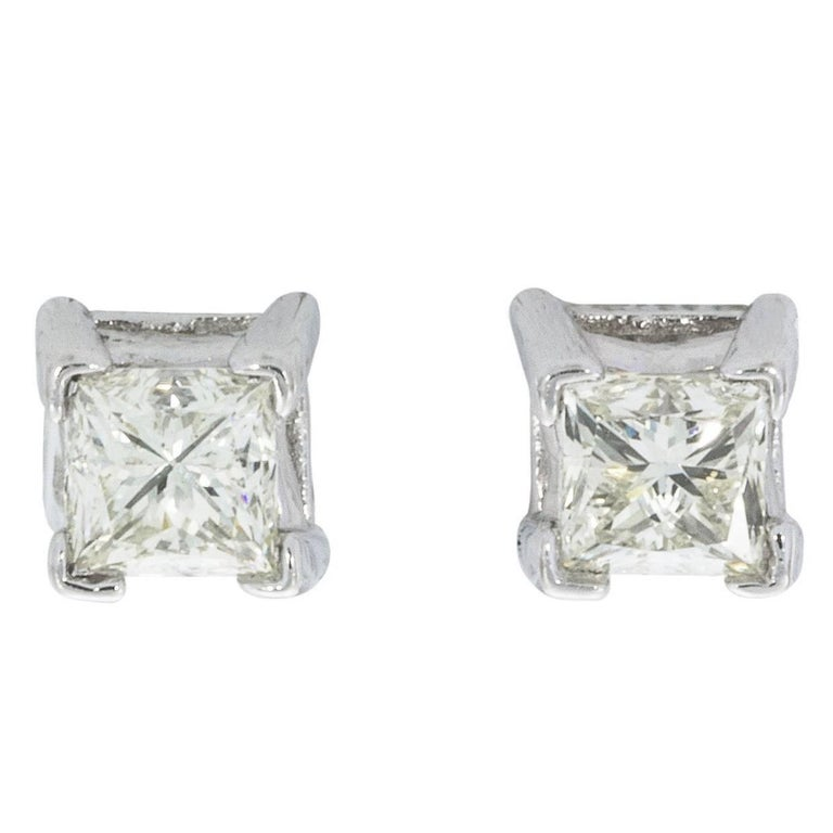 White Gold 0.66 Carat Princess Diamond Screw Back Stud Earrings