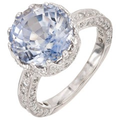GIA Certified Peter Suchy 7.22 Carat Blue Sapphire Diamond Engagement Ring