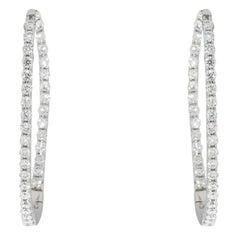 White Gold 0.72 Carat Shared Prong Inside-Out Diamond Hoop Earrings