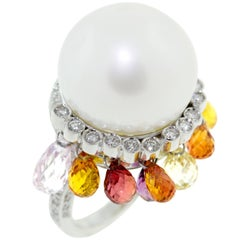 Ella Gafter White South Sea Pearl Sapphire Briolette and Diamond White Gold Ring