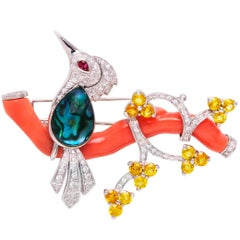 Ella Gafter Love Bird Brooch Pin with Coral Diamonds and Yellow Sapphire