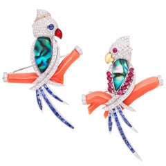 Ella Gafter Diamond Parrot Bird Brooch Pins